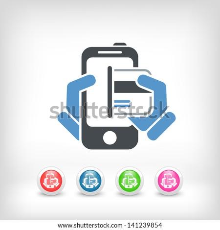Card in smartphone - stock vector