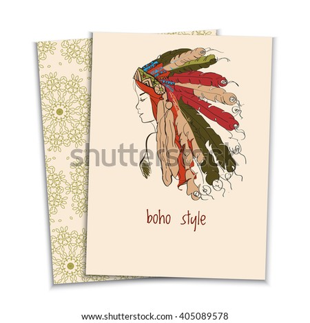 card in the boho style of a beautiful girl in a headdress of the American Indian with feathers, colored sketch - stock vector