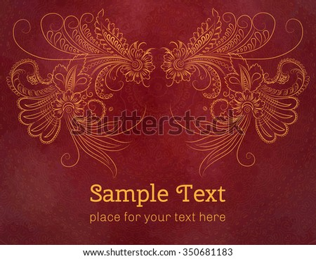 Card, invitation or menu with floral pattern. Vector vintage hand-drawn highly detailed flowers elements. Luxury lace festive ornament card. Islam, Arabic, Indian, Turkish, Ottoman motifs