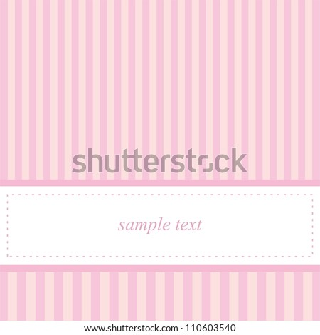 Card invitation vector template for baby shower, wedding or birthday party with sweet baby pink stripes. Cute background with white space to put your own text. - stock vector