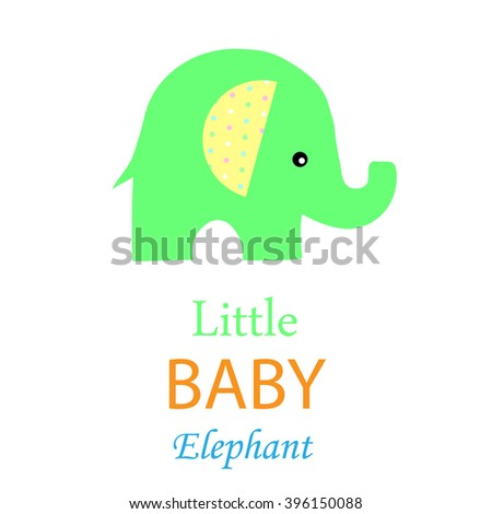 card little green elephant with place for text vector. - stock vector