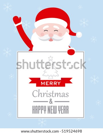 Card merry christmas. Santa Claus with poster