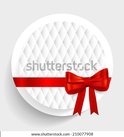 Card note with gift bows and ribbons. Vector illustration. - stock vector