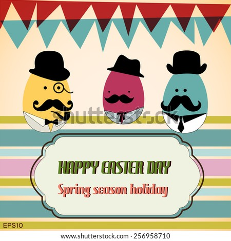 Card of Easter eggs dressed as a businessman celebrating Spring holiday, vintage frame for text. - stock vector