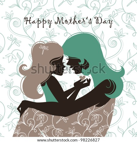 Card of Happy Mothers Day. Beautiful mother silhouette with her daughter