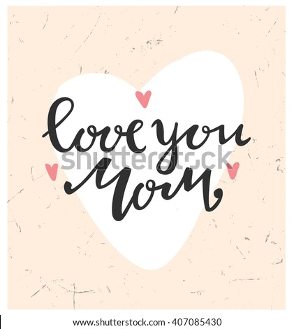 card of happy mothers day trendy lettering love you mom happy mothers day