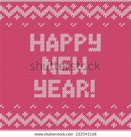 Card of Happy New Year 2015 with knitted texture. Vector retro vintage background. Christmas illustration.  - stock vector