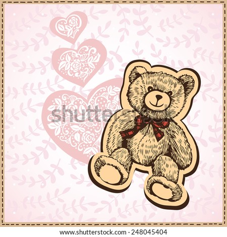 Card of Valentine's Day with hearts and teddy bear. Hand-drawing.  Illustration for greeting cards, invitations, and other printing and web projects. - stock vector