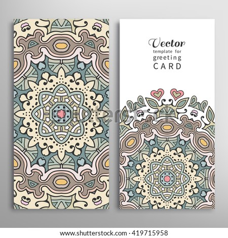 Card or Invitation patterns collection with doodle floral geometric texture for wedding bridal, Valentine's day, greeting cards or birthday invitations, fabric or paper print. Mandala design elements - stock vector