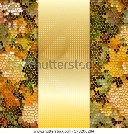 Card or invitation template with maple leaves stained glass mosaic and place for text in the center. - stock vector