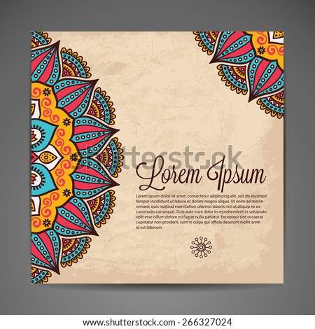 Card or invitation. Vintage decorative elements. Hand drawn background. Islam, Arabic, Indian, ottoman motifs. - stock vector