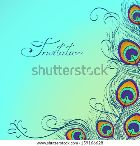 Card or invitation with iridescent peacock feathers decoration on blue background - stock vector