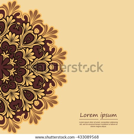 Card or invitation with mandala pattern.Vector vintage hand-drawn elements. It can be used for card, invitation, poster, banner, fabric design, wedding card.
