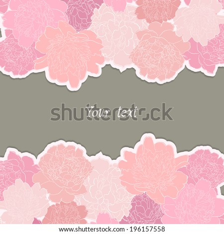 Card or invitation with peony flower background - stock vector