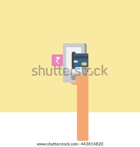 card or mobile payment. online payment. hand holding card. accepting payment. vector illustration. rupee payment