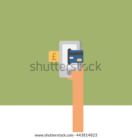 card or mobile payment. online payment. hand holding card. accepting payment. vector illustration. euro payment