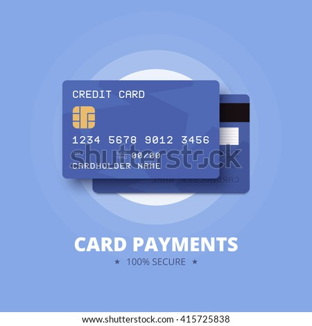 Card payments illustration. Blue credit, debit card with front and back view. Vector illustration in flat style.