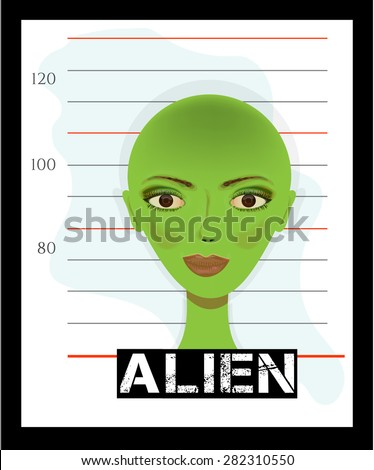 Card, picture, poster with beautiful, green alien lady - suspect identification - stock vector