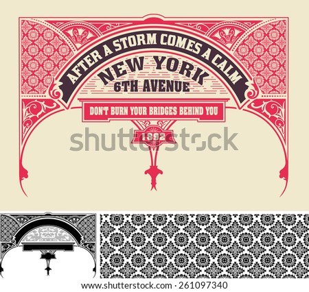 Card, retro style. Design elements. vector - stock vector