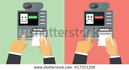 Card scan on access control - stock vector