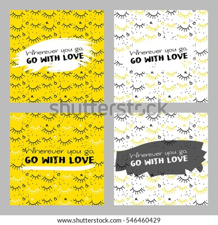 Card set with lash, plus and hearts on background. Applicable for Covers, Posters, Flyers and Banner Designs. Vector illustration