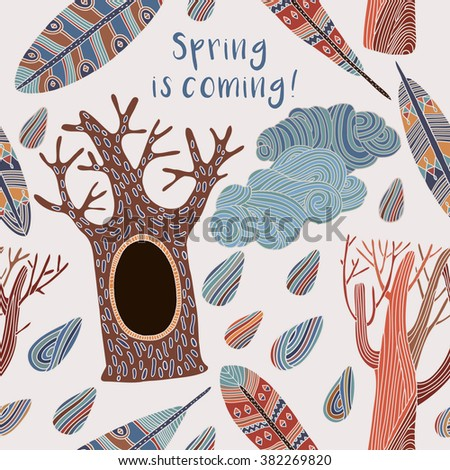 Card spring is coming. trees, cloud and feathers. seamless vector pattern
