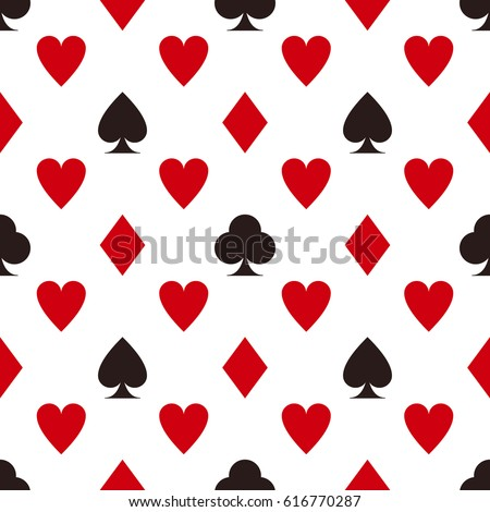 Card suit pattern. Seamless vector game background
