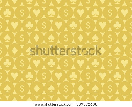 Card Suits and Dollar Sign Seamless Pattern Vector Illustration - stock vector