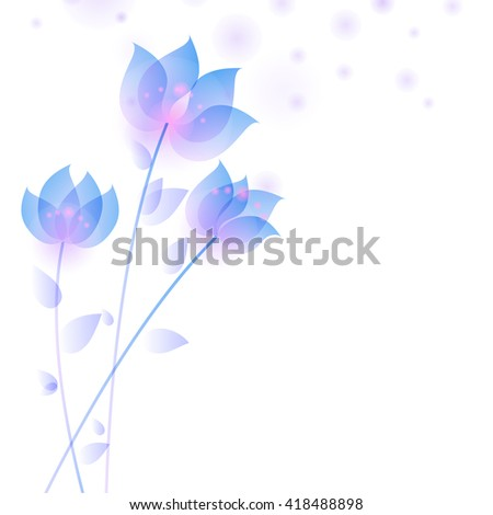 Card template with elegant flowers, leaves. Delicate and elegant design. - stock vector