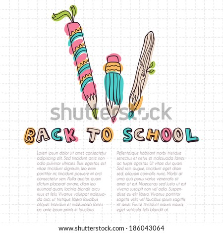 Card template with pencils on the squared paper - stock vector