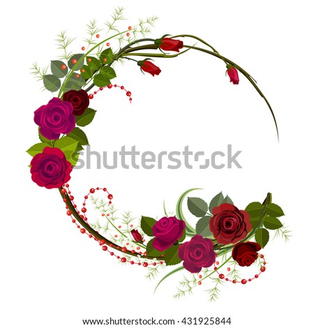 Card template with rose. Wreath of flowers. Floral frame. Circle frame with roses for greeting card. Vector illustration isolated on white. - stock vector