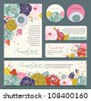 card templates with flowers background - stock vector