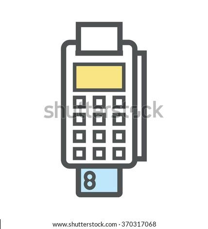 Card Terminal Colored Vector Icon - stock vector