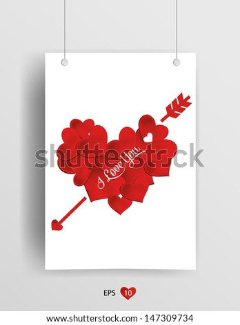 card valentine's day Heart. Vector background  - stock vector