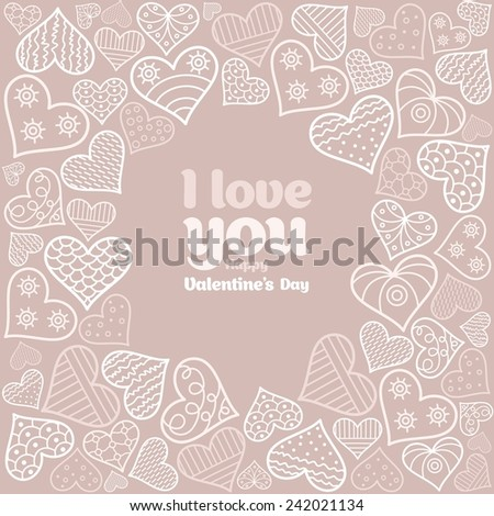 Card Valentine's Day with hearts - stock vector