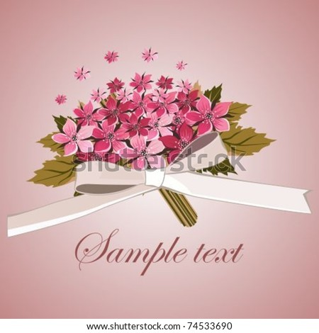Card with a bouquet red violet flowers - stock vector