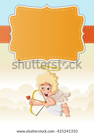 Card with a cartoon cupid angel boy in heaven aiming at someone - stock vector