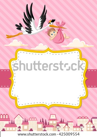 Card with a cartoon stork delivering a newborn baby girl  - stock vector