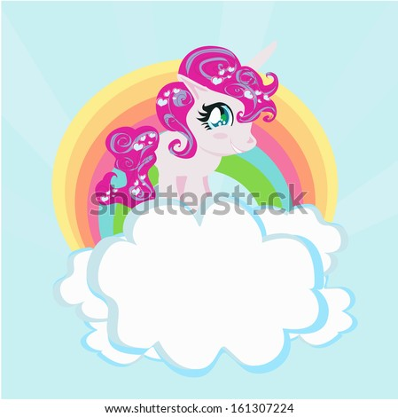 Card with a cute unicorn rainbow in the clouds.  - stock vector