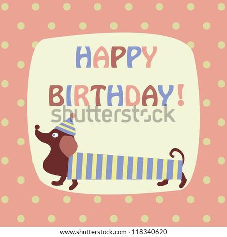 card with a dachshund - stock vector