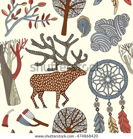 Card with a deer, autumn trees and dream catcher. Vector illustration.