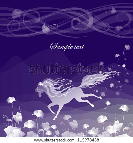 card with a horse on a purple background - stock vector