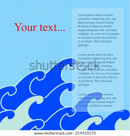 Card with a nautical style with waves and place for text. Vector illustration. - stock vector