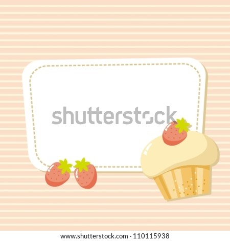 card with a picture of the cake with strawberries - stock vector