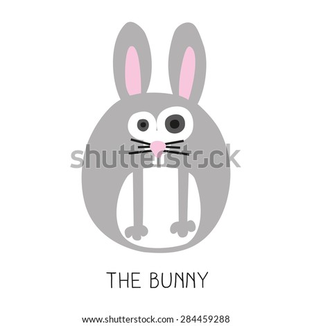 Card with a round bunny  on white background. Vector and illustration design. - stock vector