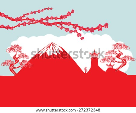card with Asian buildings and Mount Fuji. Fujiyama - stock vector
