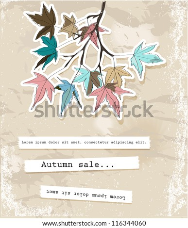 Card with autumn leaves. Vector illustration EPS10 - stock vector