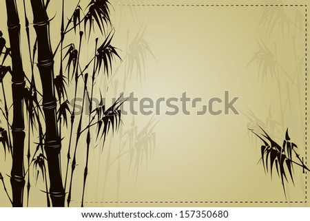 Card with bamboo. Bamboo leaf. Vector illustration.
