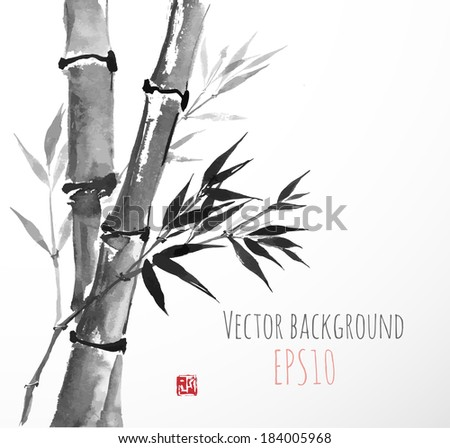 Card with bamboo  in sumi-e style. Hand-drawn with ink. Vector illustration.