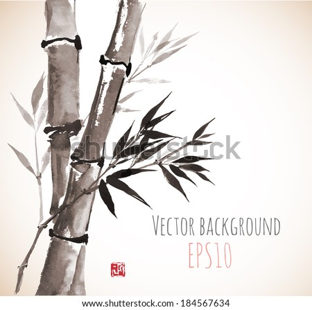 Card with bamboo in sumi-e style. Hand-drawn with ink. Vector illustration.  - stock vector